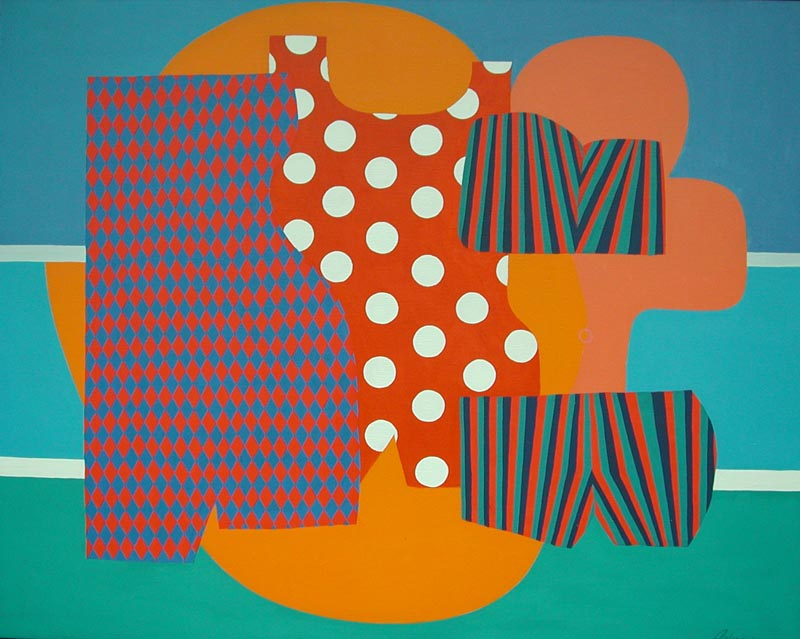 Three Bathers in Red, 1964, acrylic on canvas