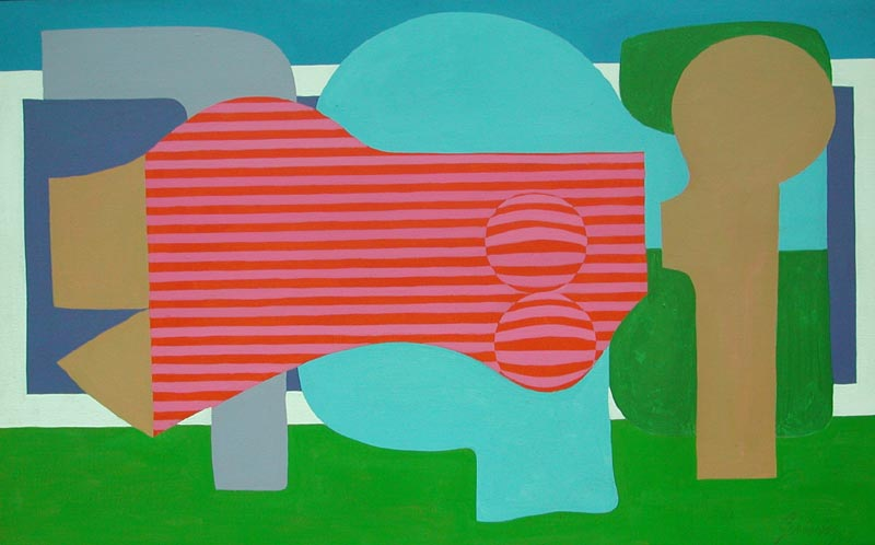 Red on Blue at Heart Lake, 1964, acrylic on canvas