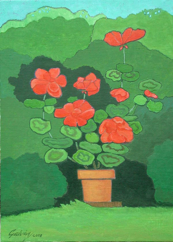 Geraniums on Green, 2000, acrylic on canvas