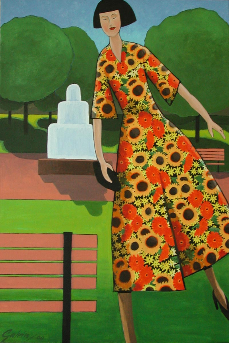 Lady in Sunflower Dress, 2000, acrylic on canvas