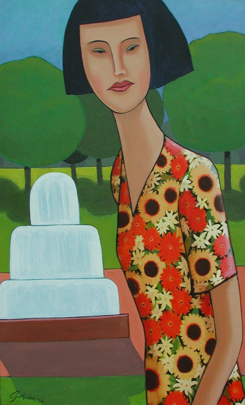 Lady in Sunflower Dress Detail, 2005, acrylic on canvas